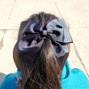 Cheer Black Bow for Girls 7""