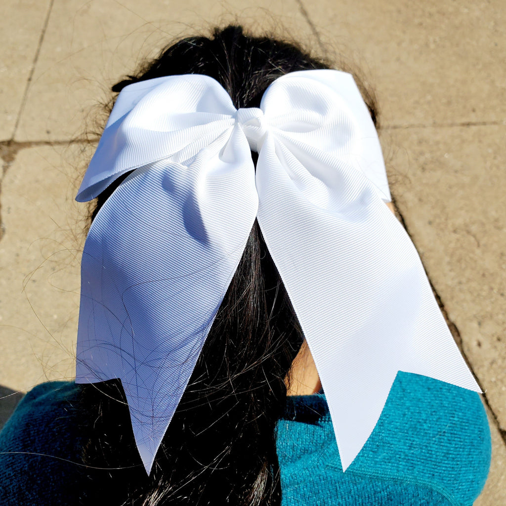 Cheer White Bow for Girls 7""