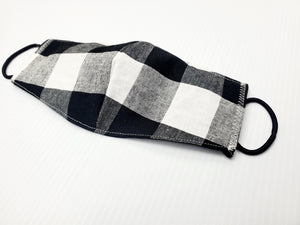 Black White Plaid Face Masks Hand Made 100 % Cotton Fabric