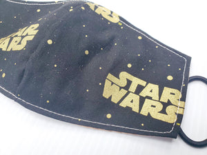 Black Gold Star Wars Face Masks Hand Made 100 % Cotton Fabric