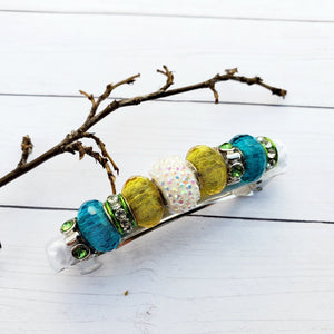 Beaded Metal Lined Glass  Turquoise  barrettes