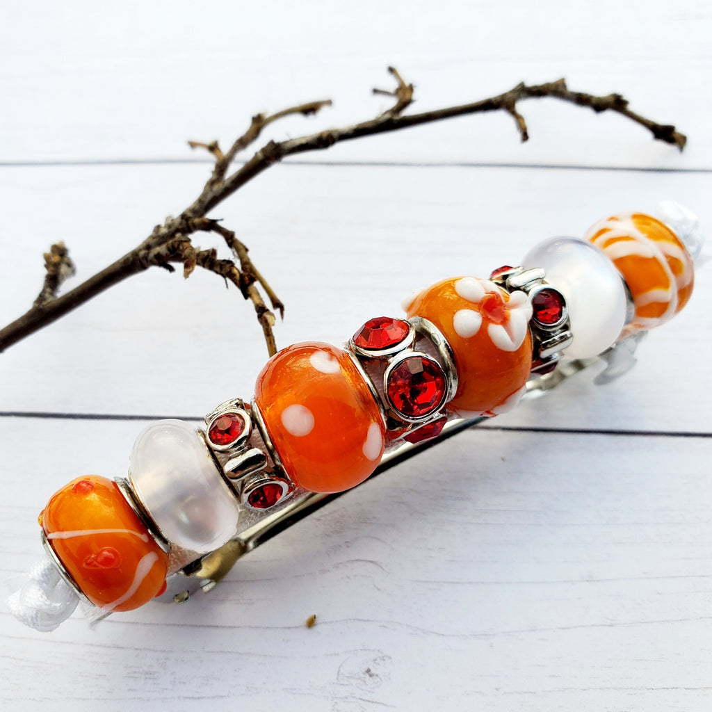"3"" Beaded Glass Hair Barette Orange"