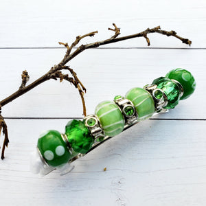 Beaded Metal Lined Glass Green  barrette