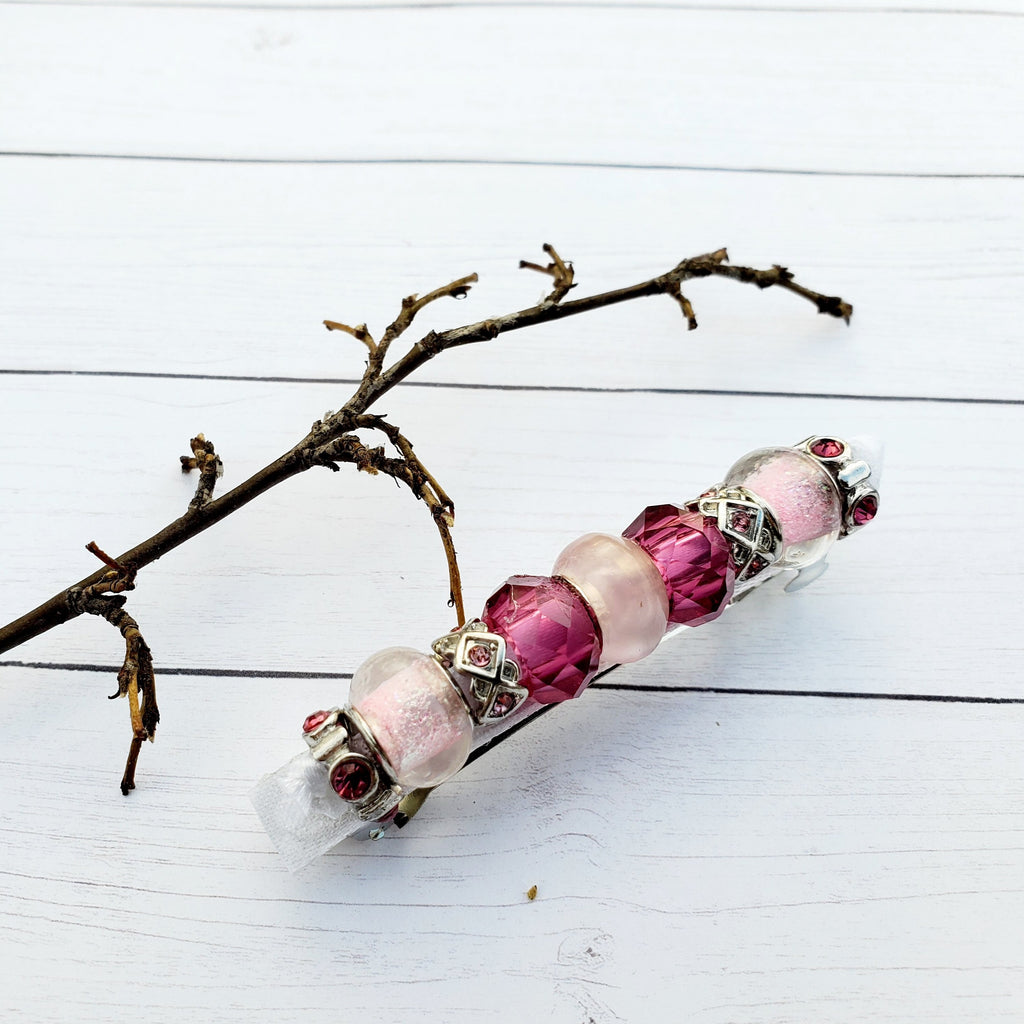 Beaded Metal Lined Glass  Pink  barrettes