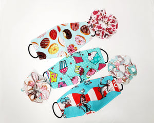 Face Masks 3 Hand Made 100 % Cotton Fabric 1 Free Scrunchie