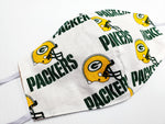 Face Masks Green Bay Packers Made 100 % Cotton Fabric