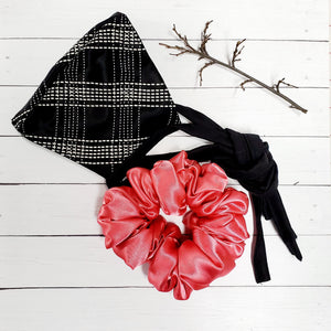 Face Mask Silky Tailor Style and Coral Scrunchie Hand Made