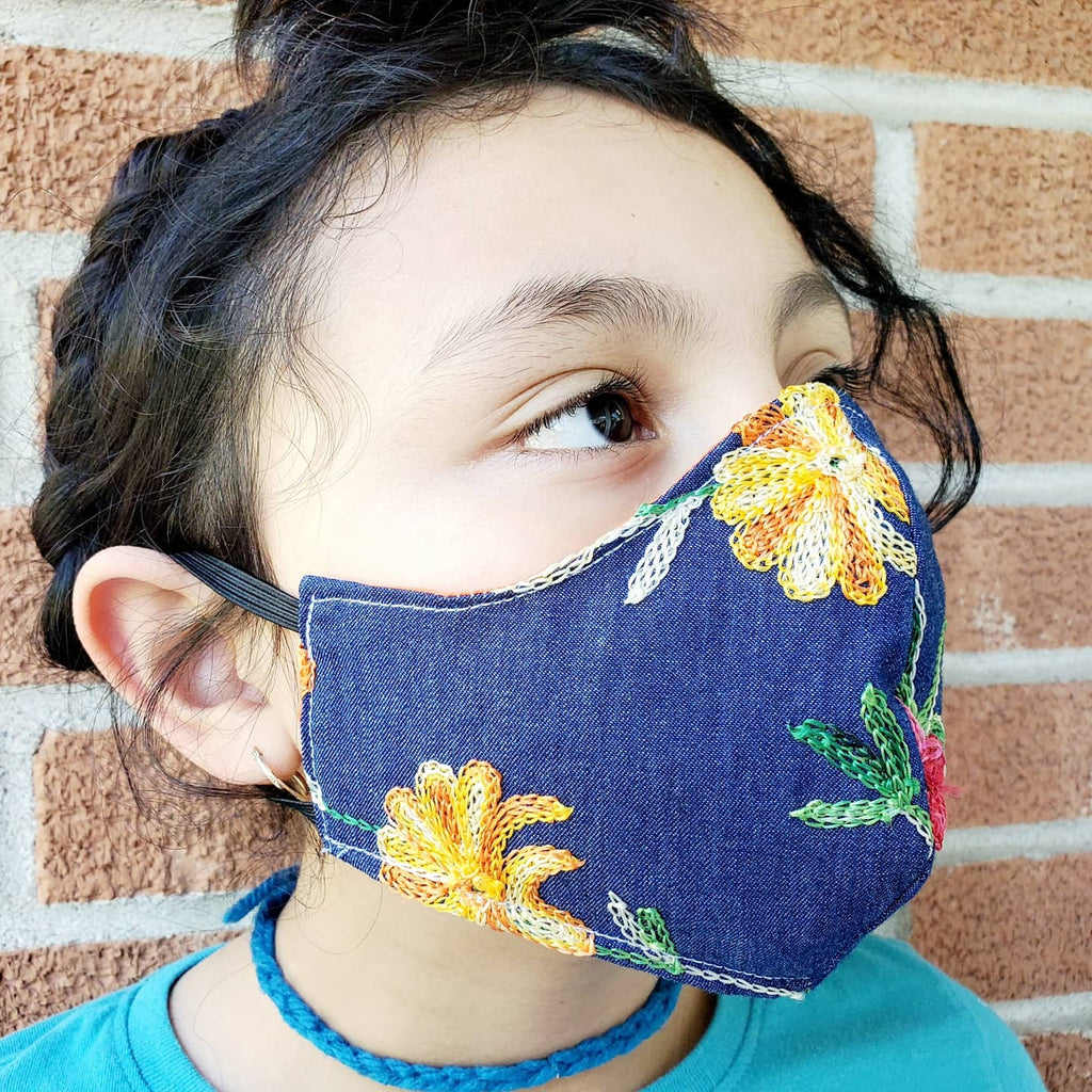 Ladies Embroidered Jean Floral Face Masks Hand Made 100 % Cotton Fabric