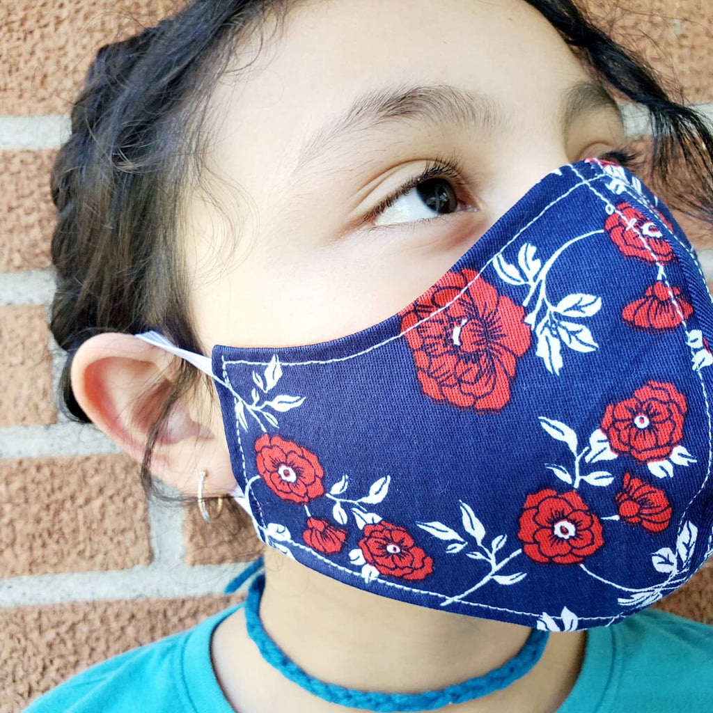 Ladies Floral Face Masks Hand Made 100 % Cotton Fabric