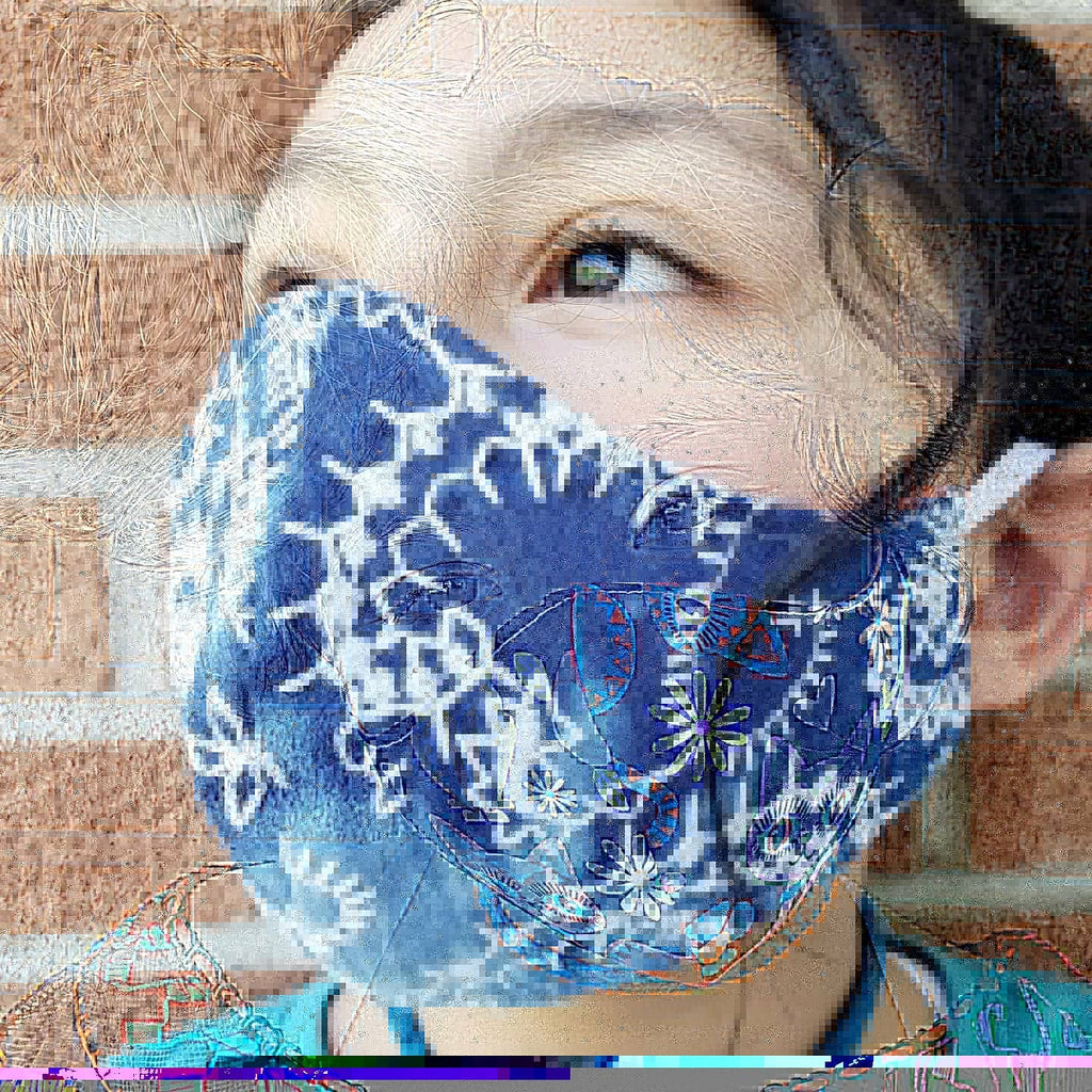 Ladies embroidered Jean Face Masks Hand Made 100 % Cotton Fabric