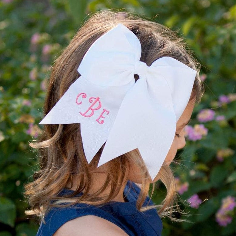 Monogrammed Clip Hair Bows for Girls 7""