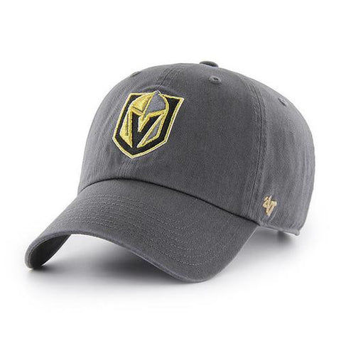 Las Vegas Knights 47 Brand Charcoal Gray Clean Up Adj. Strapback Slouch Hat Cap