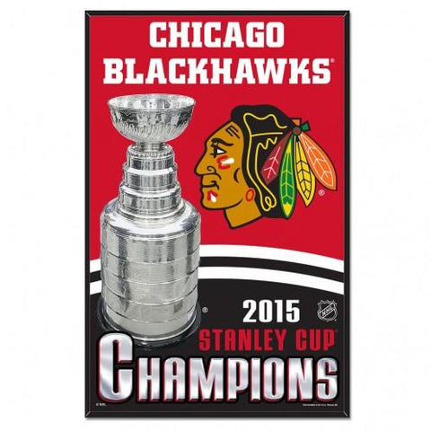 Chicago Blackhawks 2015 Stanley Cup Champions WinCraft Wood Red Sign