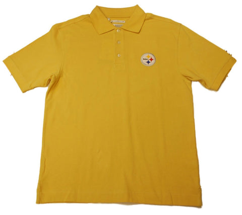 Pittsburgh Steelers Cutter & Buck Yellow Gold Knit Golf Polo Shirt - Sporting Up