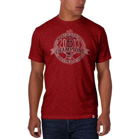 Shop Boston Red Sox 47 Brand Scrum 2013 MLB World Series Champions Rescue Red T-Shirt - Sporting Up