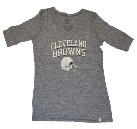 Shop Cleveland Browns 47 Brand Women Vintage Gray 1/2 Sleeve Tri-Blend T-Shirt - Sporting Up