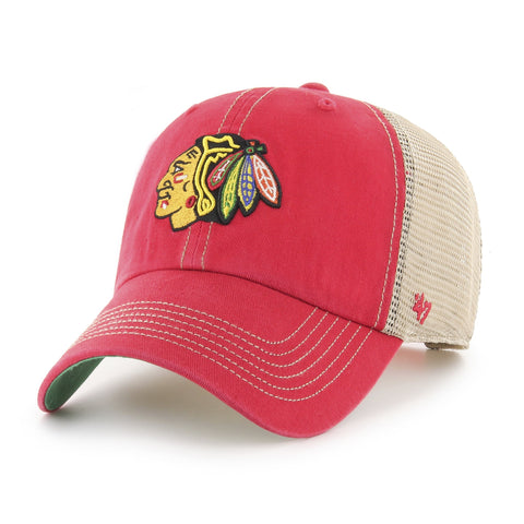 Chicago Blackhawks 47 Brand Red Trawler Clean Up Mesh Snapback Slouch Hat Cap