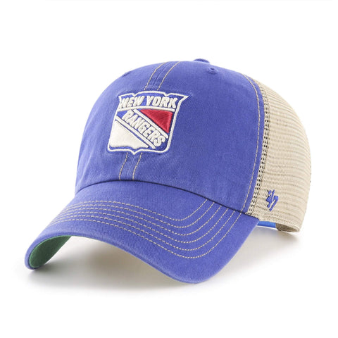New York Rangers 47 Brand Blue Trawler Clean Up Mesh Snapback Slouch Hat Cap