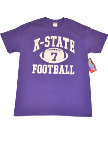 Shop Kansas State Wildcats Blue 84 Screen Printed Football #7 Purple T-Shirt