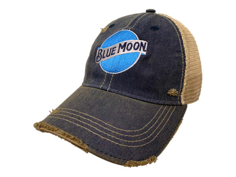 Blue Moon Brewing Company Retro Brand Washed Denim Vintage Tattered Mesh Hat Cap - Sporting Up