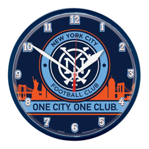 "Shop New York City FC MLS WinCraft Sports Blue Round Wall Clock (12.75"") - Sporting Up"