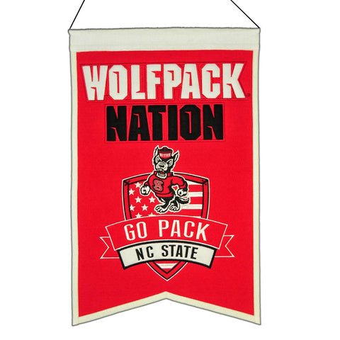 "NC State Wolfpack Winning Streak Red ""Wolfpack Nation"" Wool Banner (14""x22"")"