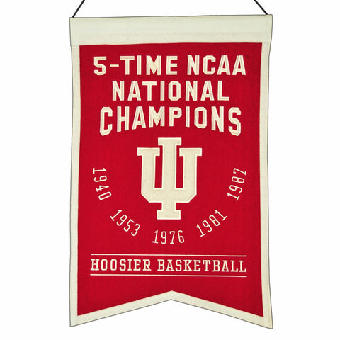 "Indiana Hoosiers 5-Time NCAA National Champions Wool Banner (14"" x 22"")"