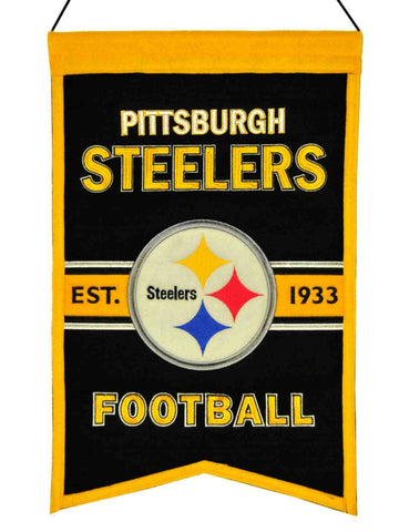 "Pittsburg Steelers Winning Streak Est. 1933 Franchise Wool Banner (14""x22"")"