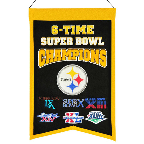 "Pittsburgh Steelers NFL 6-Time Super Bowl Champions Wool Banner (14"" x 22"")"