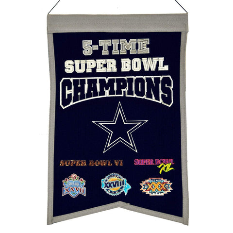 "Dallas Cowboys NFL 5-Time Super Bowl Champions Wool Banner (14"" x 22"")"