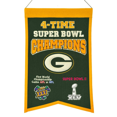 "Green Bay Packers NFL 4-Time Super Bowl Champions Wool Banner (14"" x 22"")"
