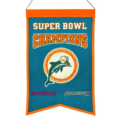 "Miami Dolphins NFL Super Bowl Champions Wool Banner (14"" x 22"")"