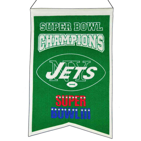 "New York Jets NFL Super Bowl Champions Wool Banner (14"" x 22"")"