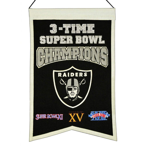 "Oakland Raiders NFL 3-Time Super Bowl Champions Wool Banner (14"" x 22"")"