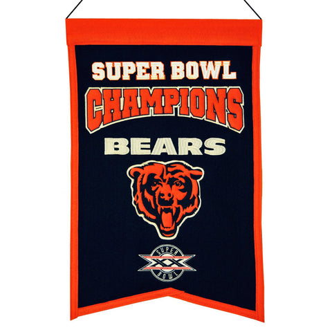 "Chicago Bears NFL Super Bowl Champions Wool Banner (14"" x 22"")"