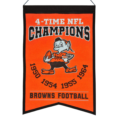 "Cleveland Browns 4-Time NFL Champions Orange Wool Banner (14"" x 22"")"