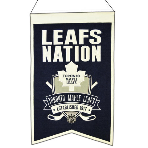 "Toronto Maple Leafs Winning Streak Navy ""Leafs Nation"" Wool Banner (14""x22"")"