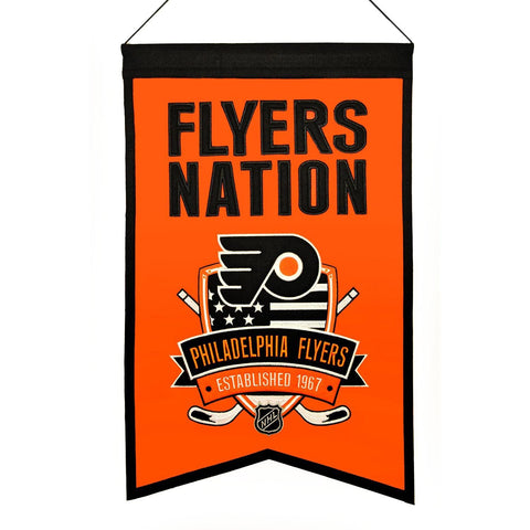 "Philadelphia Flyers Winning Streak Orange ""Flyers Nation"" Wool Banner (14""x22"")"