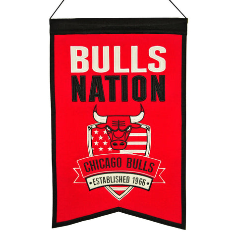 "Shop Chicago Bulls Winning Streak Red ""Bulls Nation"" Wool Banner (14""x22"")"
