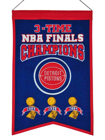 "Detroit Pistons 3-Time NBA Finals Champions Wool Banner (14"" x 22"")"