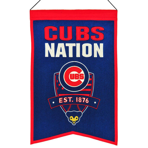 "Shop Chicago Cubs Winning Streak Blue ""Cubs Nation"" Wool Banner (14""x22"")"