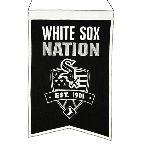 "Shop Chicago White Sox Winning Streak Black ""White Sox Nation"" Wool Banner (14""x22"")"
