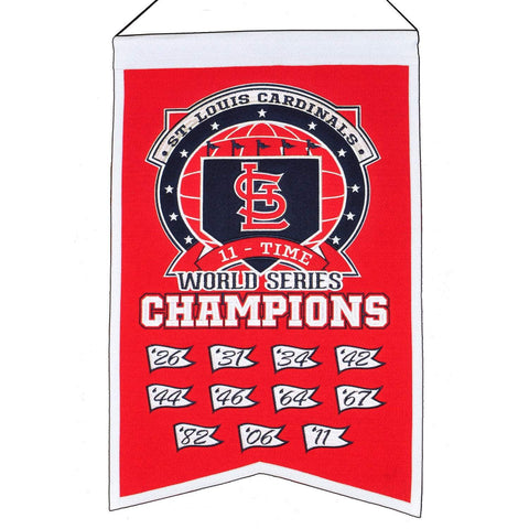 "St. Louis Cardinals MLB 11-Time World Series Champions Wool Banner (14"" x 22"")"