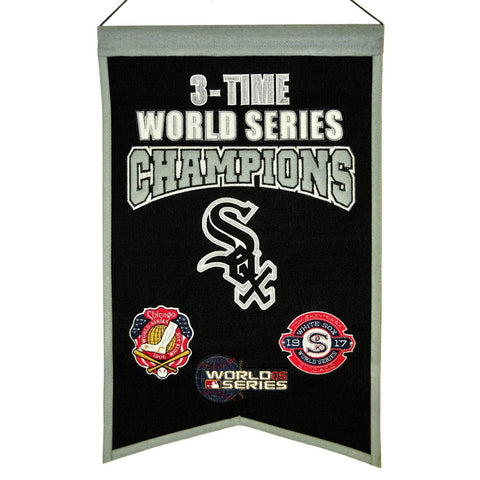 "Chicago White Sox MLB 3-Time World Series Champions Wool Banner (14"" x 22"")"