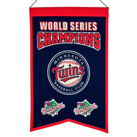 "Minnesota Twins MLB World Series Champions Wool Banner (14"" x 22"")"