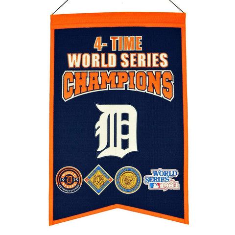 "Detroit Tigers MLB 4-Time World Series Champions Wool Banner (14"" x 22"")"