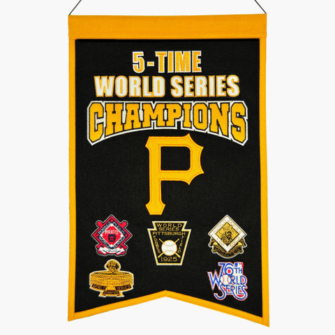 "Pittsburgh Pirates MLB 5-Time World Series Champions Wool Banner (14"" x 22"")"