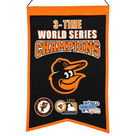 "Shop Baltimore Orioles MLB 3-Time World Series Champions Wool Banner (14"" x 22"")"