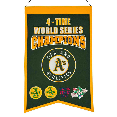"Oakland Athletics MLB 4-Time World Series Champions Wool Banner (14"" x 22"")"