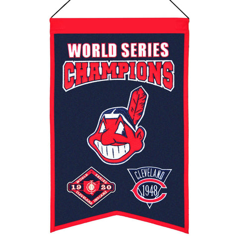 "Shop Cleveland Indians MLB World Series Champions Wool Banner (14"" x 22"")"